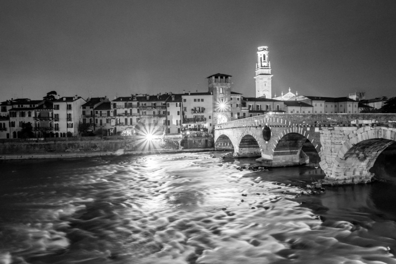 Ponte Pietra by night, Verona